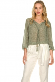 JC Sophie |  Blouse with polka dots print Christobel | green  | Picture 5