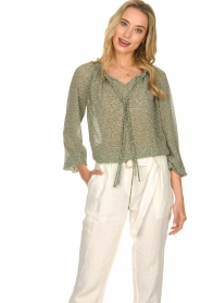 JC Sophie |  Blouse with polka dots print Christobel | green  | Picture 2