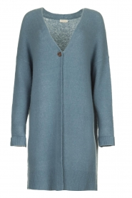 JC Sophie |  Long cardigan with button Caresse | blue  | Picture 1