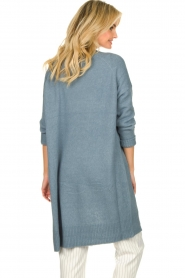 JC Sophie |  Long cardigan with button Caresse | blue  | Picture 7