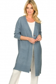 JC Sophie |  Long cardigan with button Caresse | blue  | Picture 5