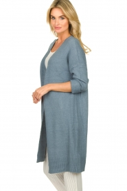 JC Sophie |  Long cardigan with button Caresse | blue  | Picture 6