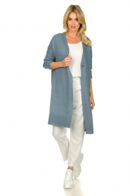 JC Sophie |  Long cardigan with button Caresse | blue  | Picture 3