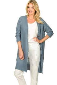 JC Sophie |  Long cardigan with button Caresse | blue  | Picture 4