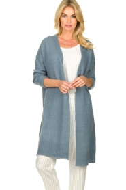JC Sophie |  Long cardigan with button Caresse | blue  | Picture 2