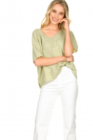 JC Sophie |  Sweater with short sleeves Carnation | green  | Picture 2
