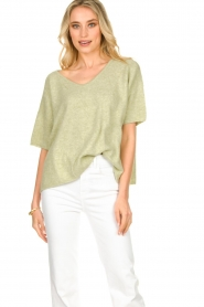 JC Sophie |  Sweater with short sleeves Carnation | green  | Picture 4
