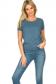 JC Sophie |  Sweater with short sleeves Carole | blue  | Picture 2