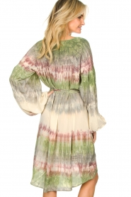 Rabens Saloner |  Tie dye dress with balloon sleeves Lizetta | green  | Picture 5
