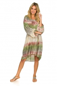 Rabens Saloner |  Tie dye dress with balloon sleeves Lizetta | green  | Picture 3