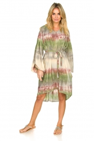 Rabens Saloner |  Tie dye dress with balloon sleeves Lizetta | green  | Picture 6