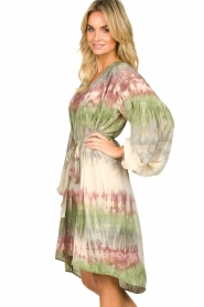 Rabens Saloner |  Tie dye dress with balloon sleeves Lizetta | green  | Picture 4