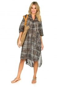 Rabens Saloner |  Cotton tie-dye dress Klara | grey  | Picture 3