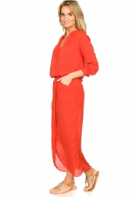 Rabens Saloner |  Maxi dress with pleats Kim | red  | Picture 4