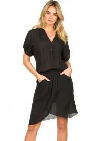 Rabens Saloner |  Dress with pleats Kiara | black  | Picture 2