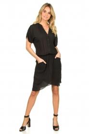 Rabens Saloner |  Dress with pleats Kiara | black  | Picture 3