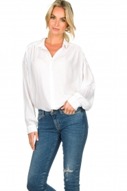 Rabens Saloner | Oversized blouse Resemary | wit  | Afbeelding 4