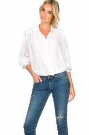 Rabens Saloner | Oversized blouse Resemary | wit  | Afbeelding 2