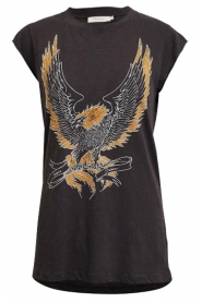 Rabens Saloner |  T-shirt with print Chia | black  | Picture 1