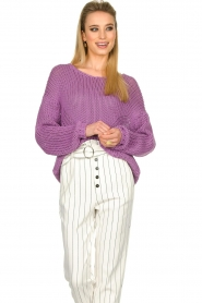 Set |  Chunky knitted sweater Liza | purple  | Picture 4
