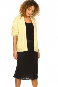 Knit-ted |  Knitted cardigan with wool blend | yellow  | Picture 4