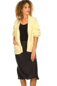 Knit-ted |  Knitted cardigan with wool blend | yellow  | Picture 2