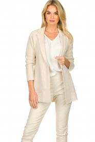 Knit-ted |  Cotton blazer with open pockets Adriana | beige  | Picture 2