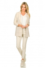 Knit-ted |  Cotton blazer with open pockets Adriana | beige  | Picture 3