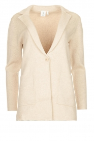Knit-ted |  Cotton blazer with open pockets Adriana | beige  | Picture 1