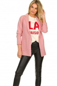 Knit-ted |  Long blazer cardigan Adrianna | pink  | Picture 2
