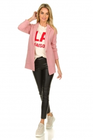 Knit-ted |  Long blazer cardigan Adrianna | pink  | Picture 3