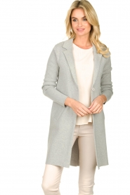 Knit-ted |  Long blazer cardigan Sammie | grey  | Picture 4