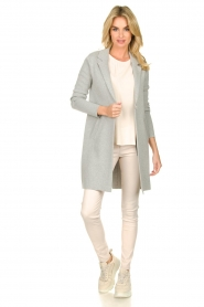 Knit-ted |  Long blazer cardigan Sammie | grey  | Picture 3