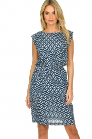 Knit-ted |  Blue printed dress Daisey | blue  | Picture 2