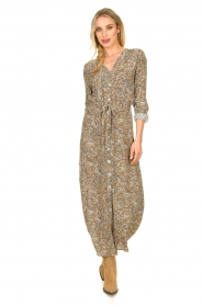 Knit-ted |  Printed maxi dress Riley | brown   | Picture 3