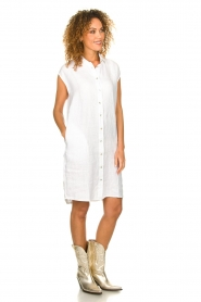 Knit-ted |  Linen dress Kristel | white  | Picture 3