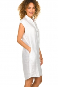 Knit-ted |  Linen dress Kristel | white  | Picture 4