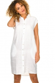Knit-ted |  Linen dress Kristel | white  | Picture 2