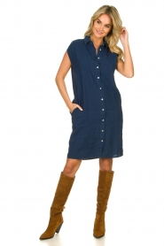Knit-ted |  Linen dress Kristel | blue  | Picture 3
