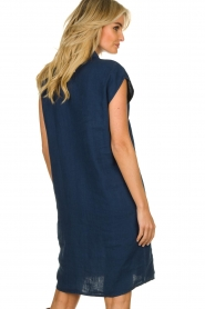 Knit-ted |  Linen dress Kristel | blue  | Picture 6