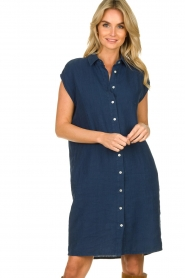 Knit-ted |  Linen dress Kristel | blue  | Picture 2