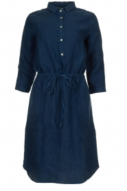 Knit-ted |  Linen dress with drawstring Katja | blue  | Picture 1