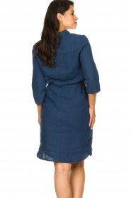 Knit-ted |  Linen dress with drawstring Katja | blue  | Picture 6