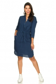 Knit-ted |  Linen dress with drawstring Katja | blue  | Picture 3