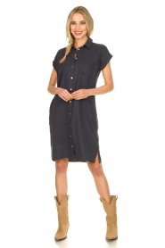 Knit-ted |  Button-down dress Marit | blue  | Picture 3