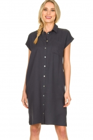 Knit-ted |  Button-down dress Marit | blue  | Picture 4