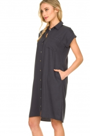 Knit-ted |  Button-down dress Marit | blue  | Picture 6