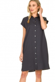 Knit-ted |  Button-down dress Marit | blue  | Picture 2