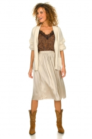 Knit-ted |  Folded skirt Kae | beige  | Picture 3