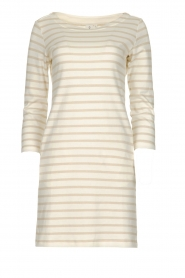 Knit-ted |  Striped dress Mylena | beige  | Picture 1